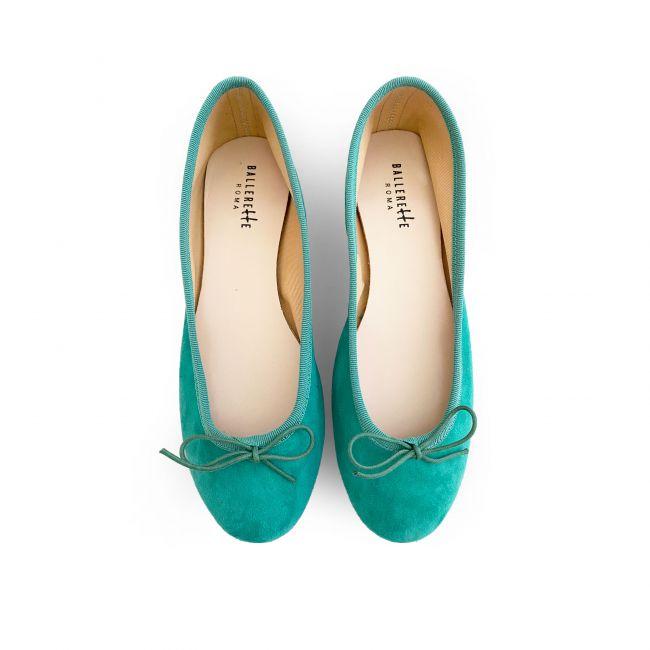 Emerald suede ballet flats