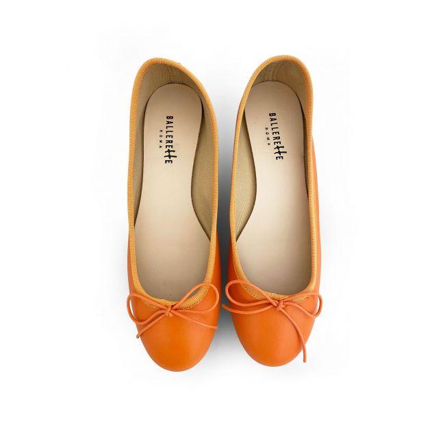 Orange leather ballet flats