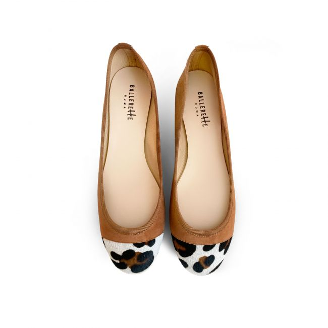 Tan suede ballet flats with leopard spotted toe