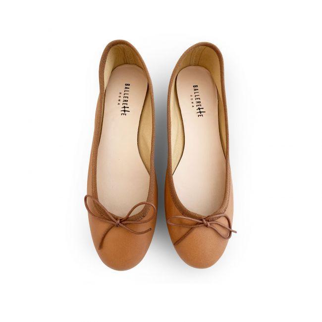 Tan leather ballet flats
