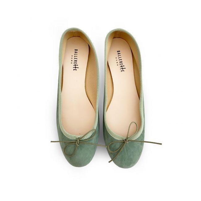 Green Suede ballet flats