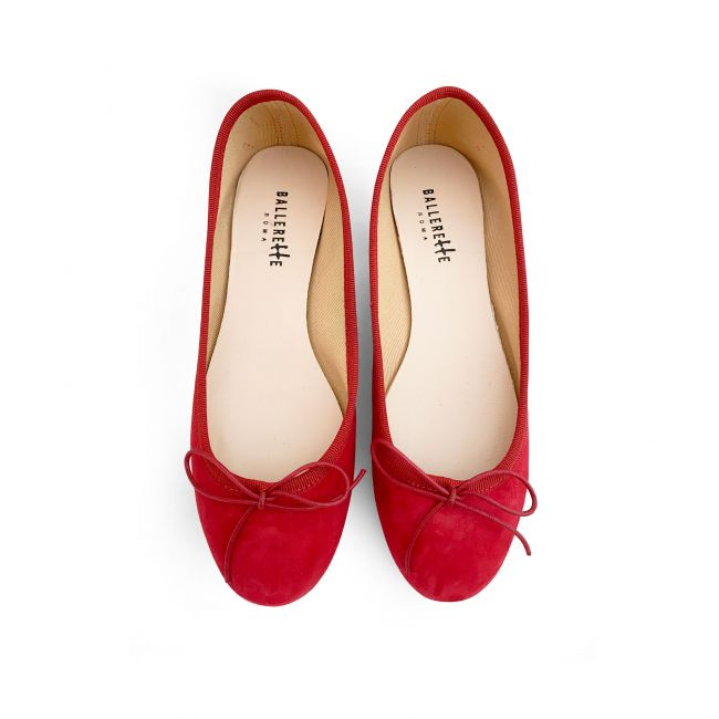 Red suede ballet flats