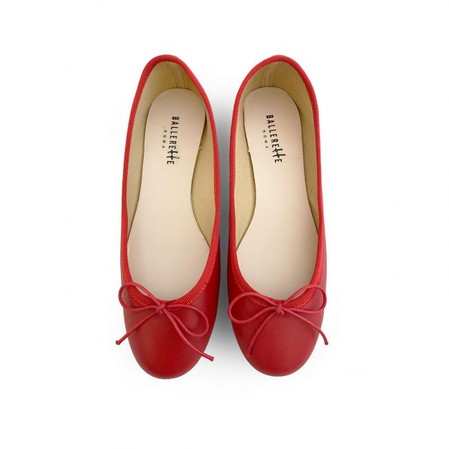 Red leather ballet flats