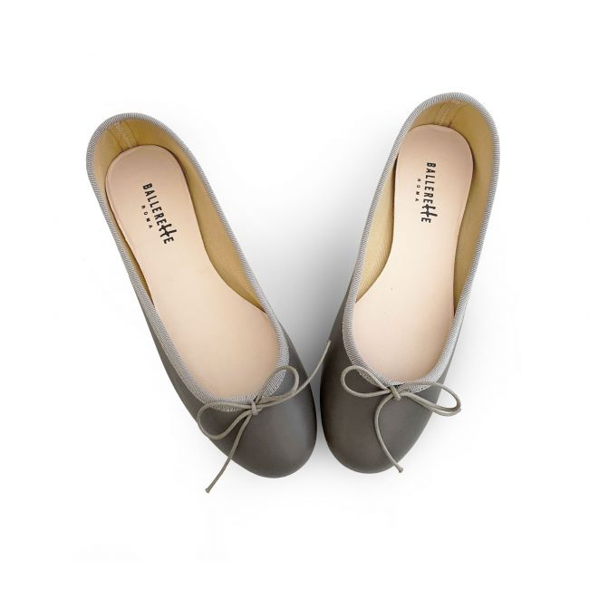 Taupe leather ballet flats