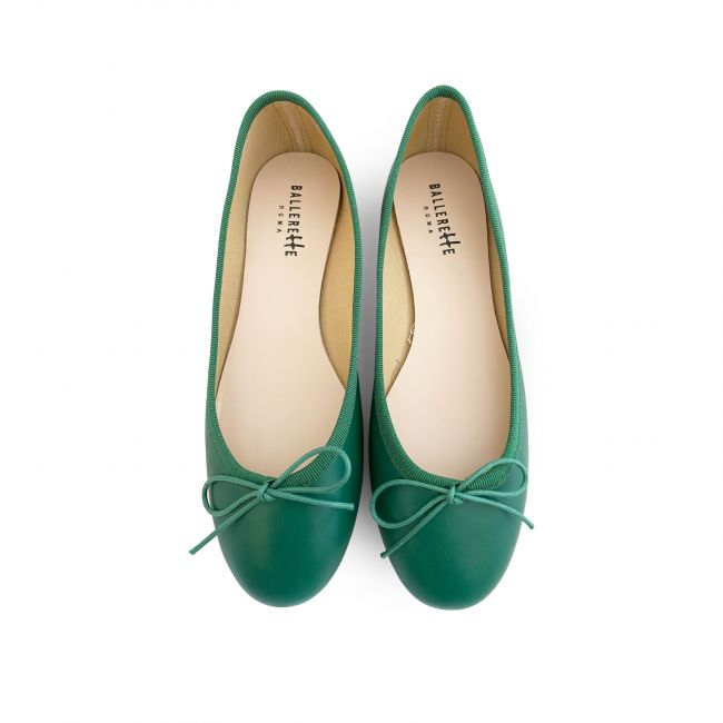 Green leather Ballet flats