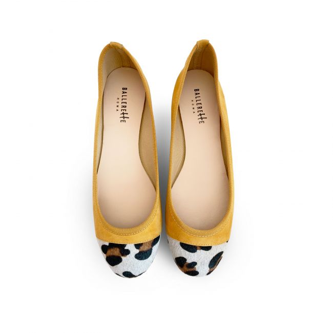 Yellow suede ballet flats with leopard spotted toe