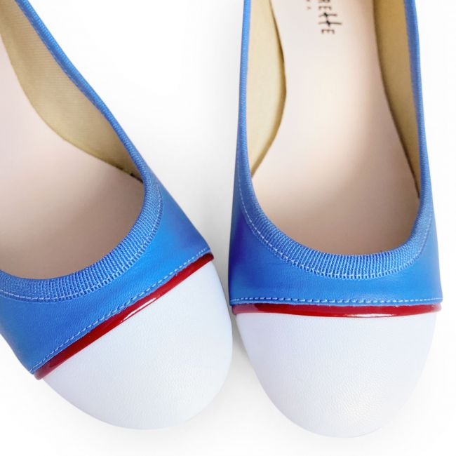 Tri-colored flats in blue jeans and white leather and red detail