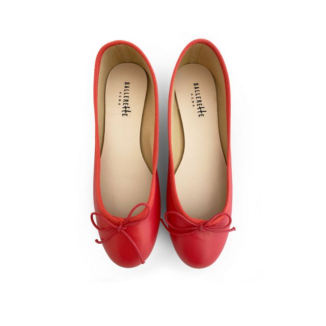 Coral red lather ballet flats