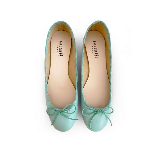 Mint green leather ballet flats
