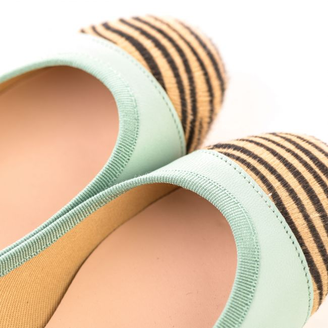 Mint green leather ballet flats with zebra pattern toe