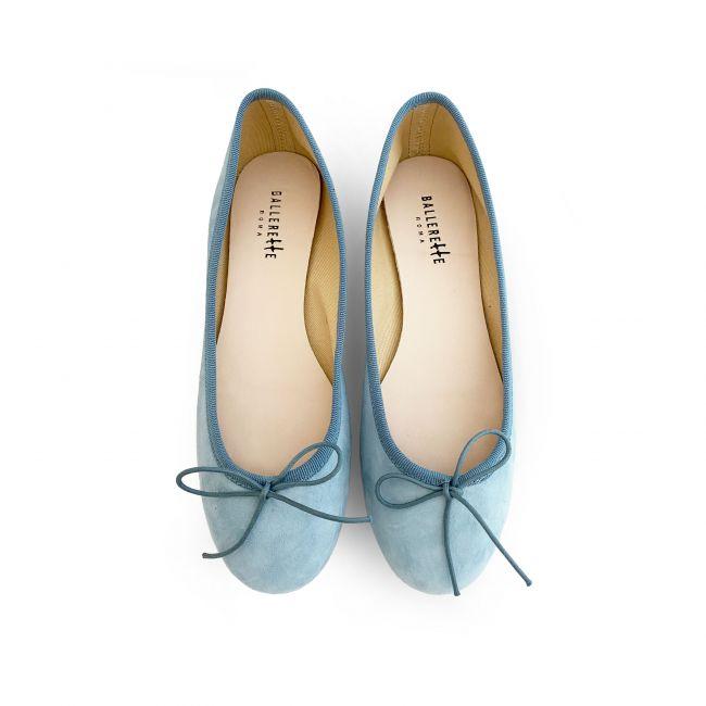 Powder blue color suede ballet flats