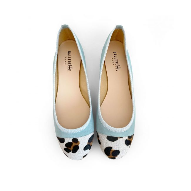 Aquamarine suede ballet flats with leopard spotted toe