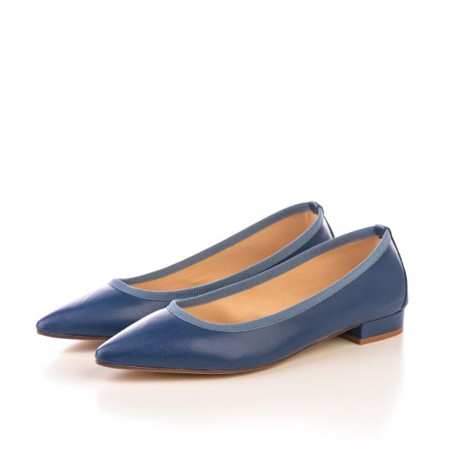 Pointed toe blue jeans leather ballet flats