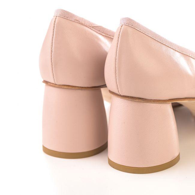 Beige leather pump ballet flats with high  heel