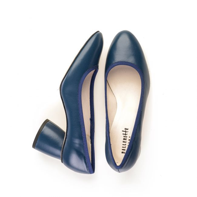 Navy blue leather pump ballet flats with high heel