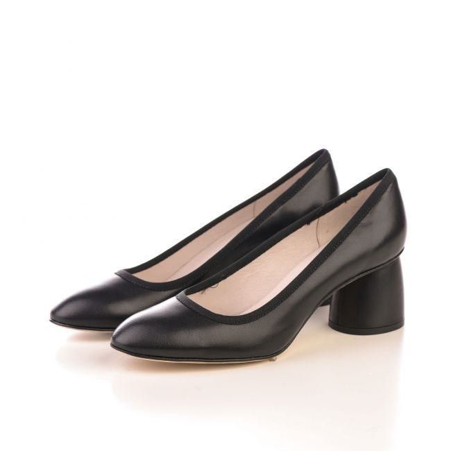 Black leather pump ballet flats with high heel