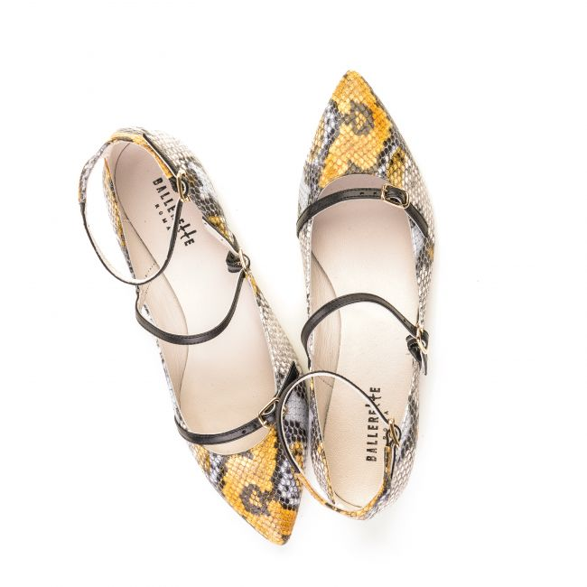 Mustard snakeskin effect leather ballet flats with straps