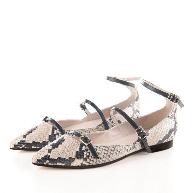 Snakeskin effect grey stone ballet flats with black straps