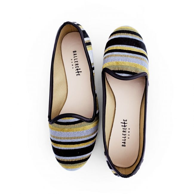 Slippers donna in velluto a righe nere