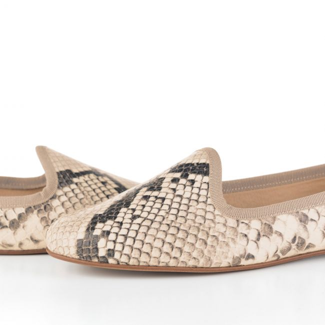 Brown leather snakeskin effect women loafers