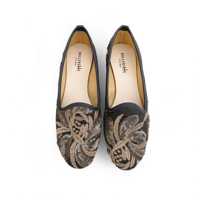 Grey jute loafers with sequins floral print