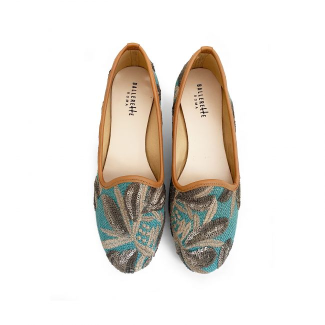 Turquoise jute loafers with sequins floral print