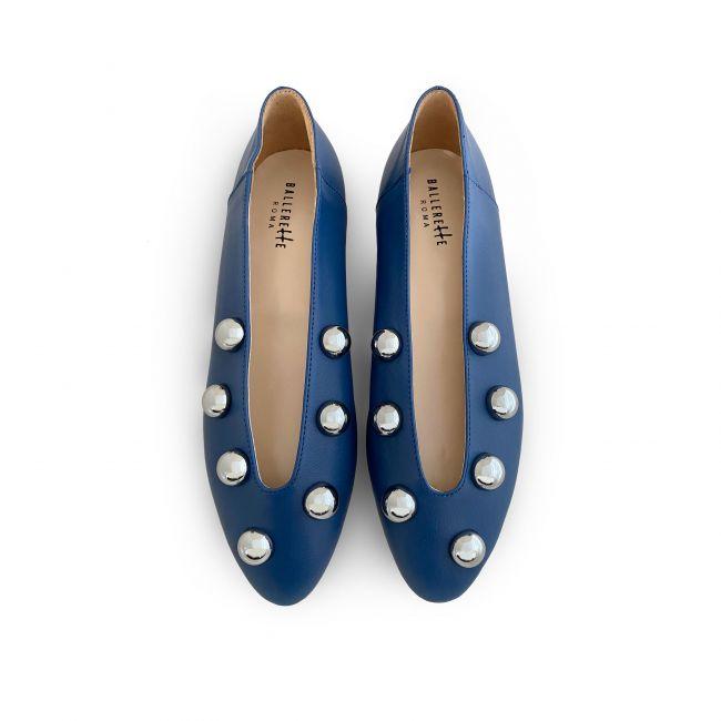Ballerine blu accollate con perle ferro