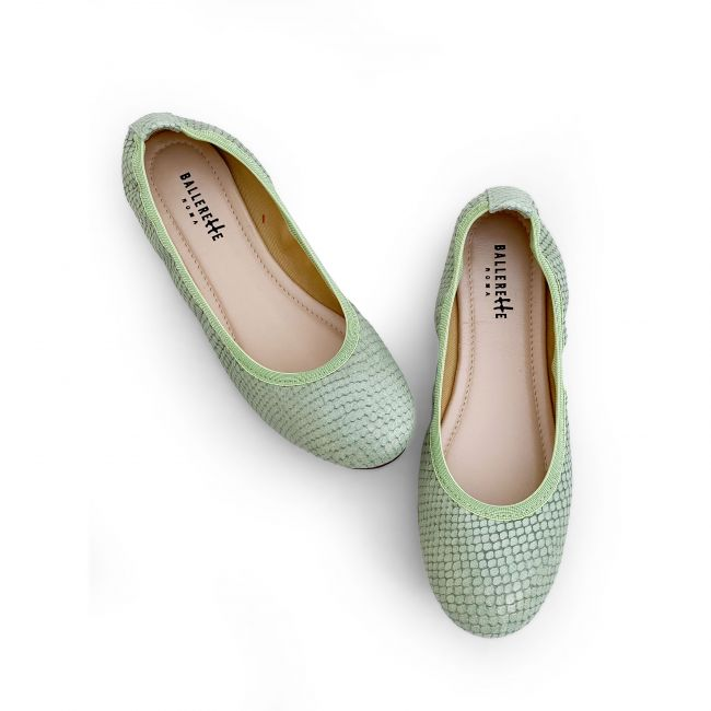 Olive green snakeskin effect leather ballet flats with elastic