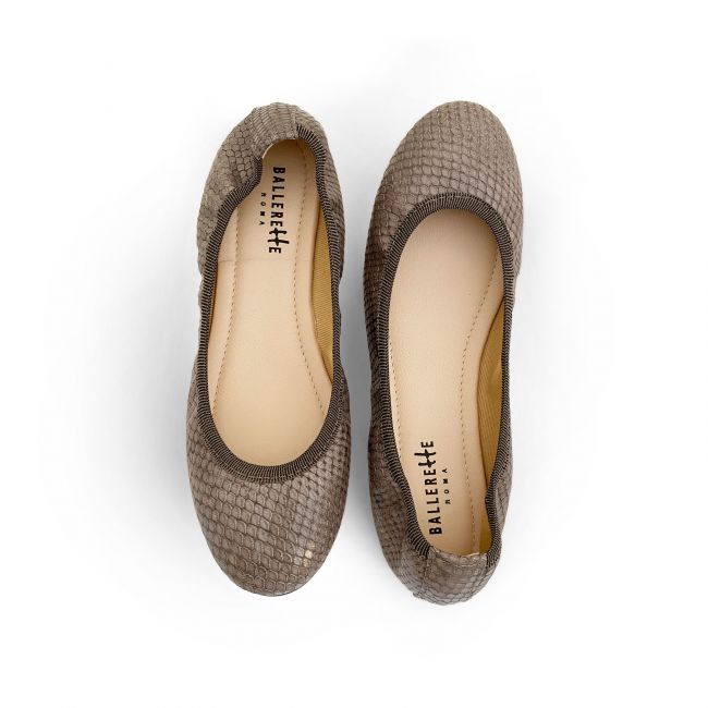 Taupe snakeskin effect leather ballet flats with elastic