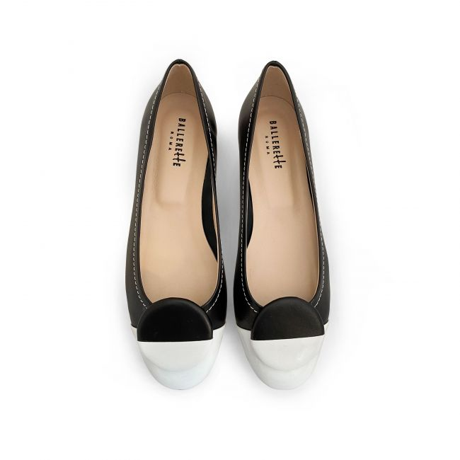 Blach leather ballet flats, white patent leather toe and stud