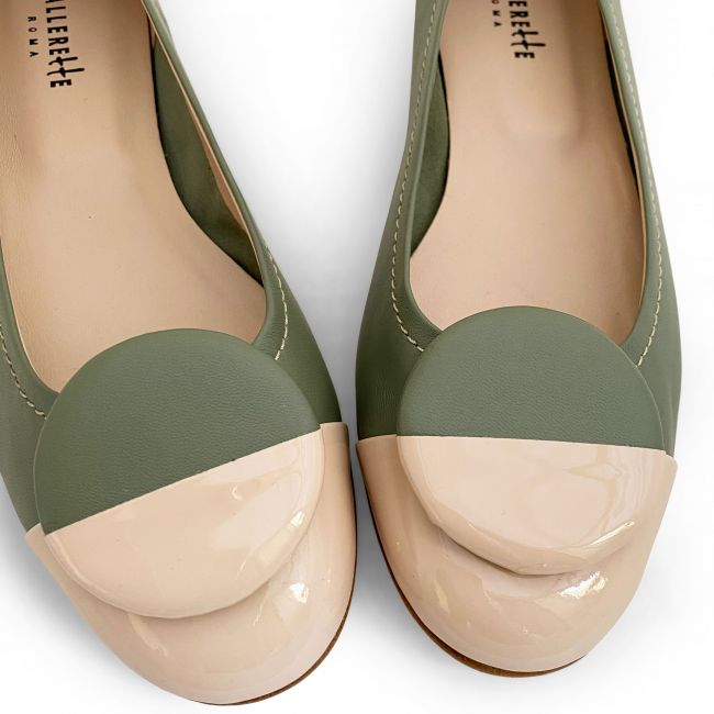 Green leather ballet flats, taupe patent leather toe and stud