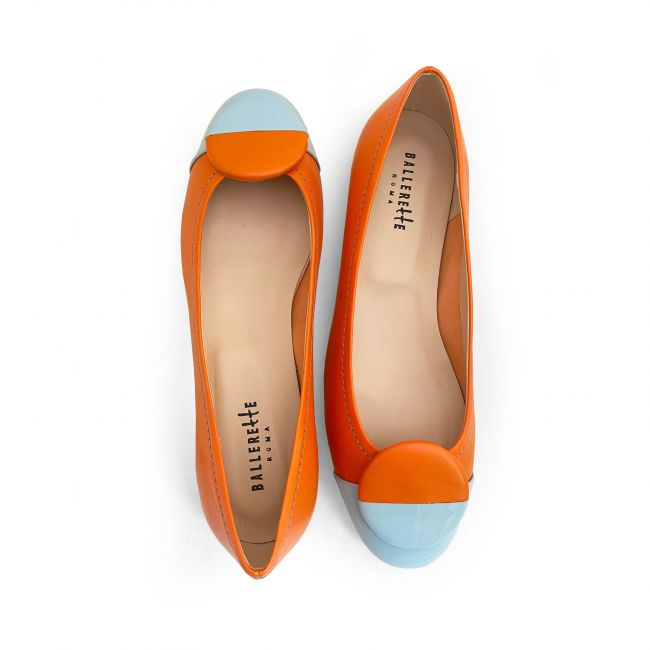 Coral leather ballet flats, light blue patent leather toe and stud