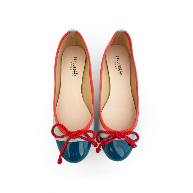 Neon green leather ballet flats with petrol green patent toe and coral red ribbon