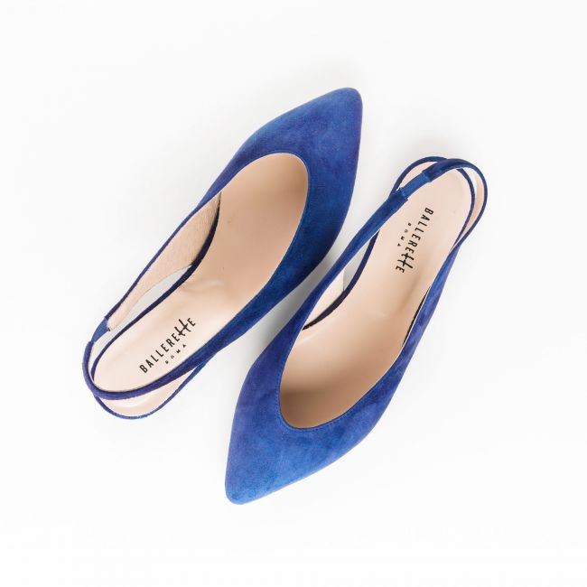 Slingback ballet flats in blue suede