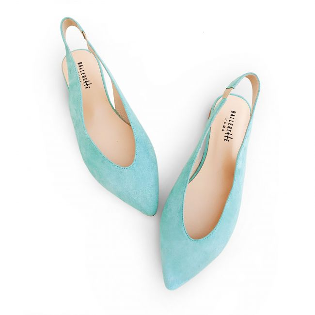 Slingback ballet flats in light blue suede