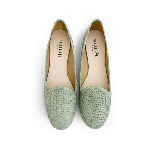 Olive green snakeskin effect lether loafers