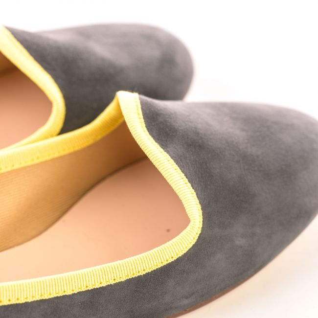 Dark grey suede women's loafers