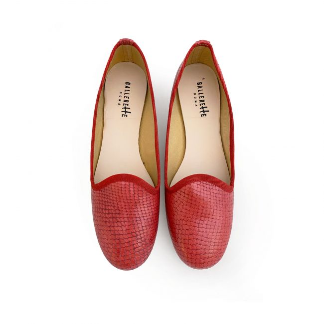 Coral snakeskin effect lether loafers