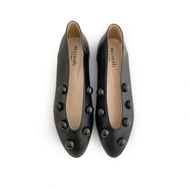 Black leather high vamp flats with black shiny pearls