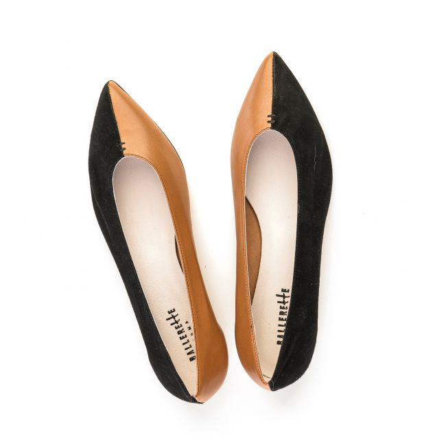 Pointed toe ballet flats in tan leather and black suede